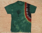 Dark Green Shaman Tie Dye T-Shirt (Fruit of the Loom Size S) (One of a Kind)