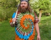 Mother Earth Spiral Tie Dye T-Shirt (Made By Hippies Tie Dye In Stock  in Sizes Small to 4XL) (Fruit of the Loom)