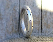 Special Order : 4mm recycled sterling halo spotty forged sterling ring