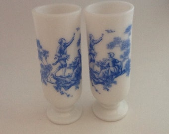 Vintage Milk Glass Cups with Blue Transfer. Set of two