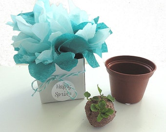 50 Seed Bomb Wedding Favor Flowers - Ombre Aqua Blue Table Decorations - Bridal Shower Favors Personalized Party Favor Tags