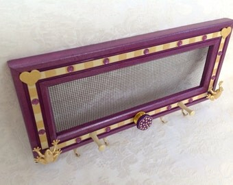 Hanging Jewelry Organizer, Earring Screen, Purple with Gold Frogs