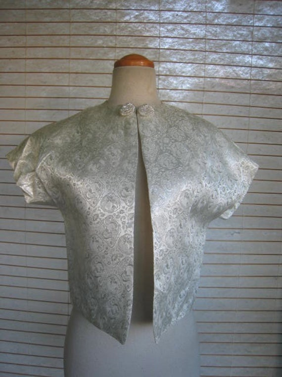 50s Ladies Silver Metallic Lame BOLERO Jacket With DETAILS 1950s
