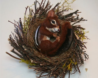 Natural Spring Twig Nest baby Chipmunk One of a Kind Alpaca Needle felted Sculpture by Stevi T.