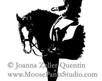 DRESSAGE HoofPRINTS NOTECARDS EQUINE Equestrian english  Stationery Set 10 cards  by Joanna Zeller Quentin
