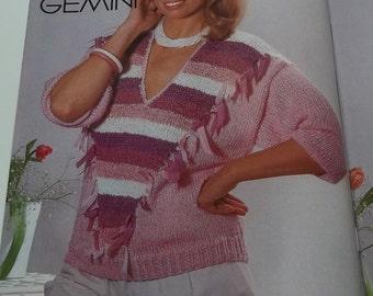 Vintage women sweater tops knitting pattern by Fashion Knitting magazine no 18