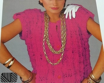 Vintage woman short sleeved sweater knitting pattern size 32-38 by Geoges Picaud no 2114