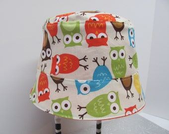 Reversible Bucket HAT / Baby Hat / Sun Hat / Toddler & Kids / Beach Hat / Newborn and up / 5 different sizes / Urban Zoologie Owls Bermuda