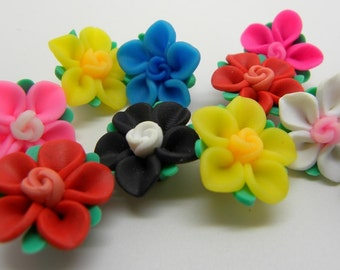 5  Mixed Color   Fimo Polymer Clay Flower Beads  21mm  Ships from USA Immediately.  (plg073)