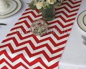 White and Red Chevron Table Runner Wedding Table Runner