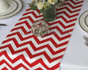 Red Chevron Table Runner Red and White Zigzag Wedding Table Runner