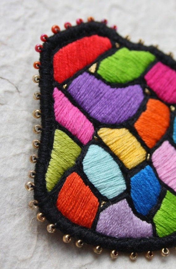 """Embroidered Brooch """"Hundertwasser mosaic"""", hand embroidery. Wearable art. Textile jewelry. Multicolour brooch. Embroidered patch."""