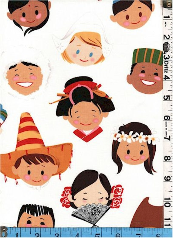 Fabric alexander henry smiles around the world multicultural for Children of the world fabric