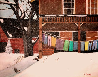 Winter Laundry in Vermont an 13 x 19 signed print of my original watercolor  painting.
