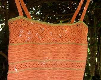 Crochet Orange & Green Camisole, Crop Top, Lacy Design, Summer, Beach,  Size 0 to 6