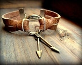 Distressed Brown Genuine Leather Unisex Bracelet with Brass Arrow Charms A'Danglin'