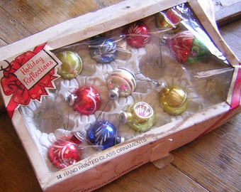 Vintage Hand Painted Glass Christmas Ornaments