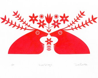 Red Stags &  Woodland Anemones - An Original Hand Pulled Gocco Screenprint
