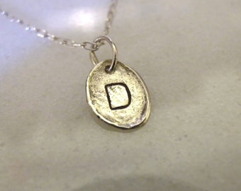 """Letter D Necklace Monogram Necklace, Personalized Jewelry, Initial Jewelry, Hand Stamped Jewelry Sterling Silver 16"""" Inch Handmade Necklace"""