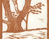 Climb a Tree Linocut Card - Rust Red Ink on White