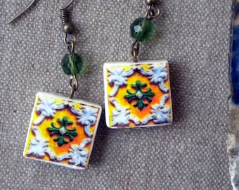 AntiqueTile Replica Earrings from OVAR Portugal - Yellow Green (see photo of actual Facade)  Waterproof - reversible 263