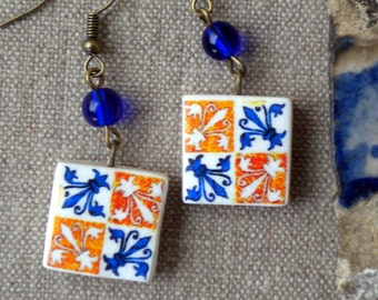 AntiqueTile Replica Earrings from OVAR Portugal - Gold Blue Fleur-de-lis (see photo of actual Facade)  Waterproof - reversible 266