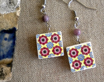 AntiqueTile Replica Earrings from OVAR Portugal - Burgundy Blue Ivory (see photo of actual Facade)  Waterproof - reversible