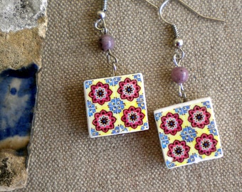 AntiqueTile Replica Earrings from OVAR Portugal - Burgundy Blue Ivory (see photo of actual Facade)  Waterproof - reversible Majolica 495
