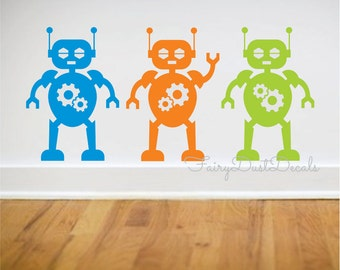Space Robot Decal, vinyl wall decal, robot bedroom art, wall stickers, boy wall decals, robots decals, robot vinyl decals, space robot, art