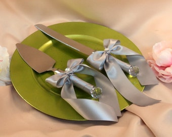 Elite Satin Cake Server Set with Rhinestone Accent ..You Choose The Bow Colors..shown in silver gray