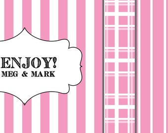Stripes or Plaid Wedding Favor Stickers  - Custom Labels // Pick Your Pattern