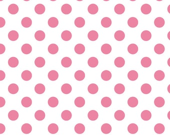 SUMMER SALE - Basics - Medium Dots on White in Hot Pink - 1 yard - C490-70 by Riley Blake Designs