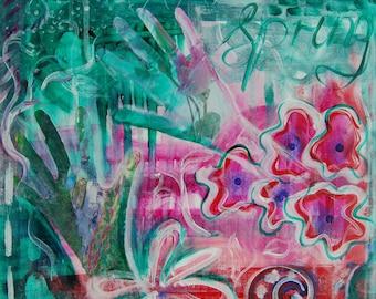 Expressive art painting, new beginnings art, spring wall art print acrylic mixed media fine art, modern floral art contemporary art pink art