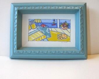 Original Acrylic beach painting on canvas, Shabby Turquoise frame, Calico cat, sailboat, Beach Cottage decor, small art, gift idea