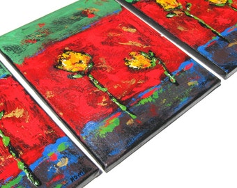 SSALE, Red Floral Abstract Acrylic paintings, Triptych, Expressionist Originals on Canvas, gift idea