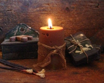 Primitive Sugar Cone Scented Beeswax Candle, Primitive Cupboard Tuck, Primitive Candle, Primitive Decor, Primitive Lighting, Rustic Candle