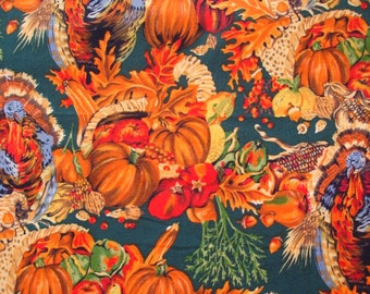 RARE FLORAL FABRIC  Autumn Bountiful Harvest Nicole de Leon Alexander Henry 1992 - 1 Yard - #M28