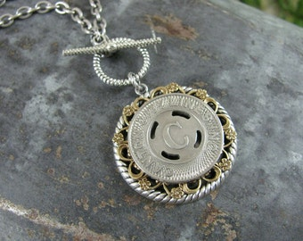 Transit Token Jewelry - Genuine Canton City Ohio Transit Token Medallion Necklace on Easy Toggle Clasp - Initial C