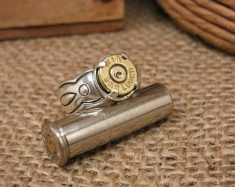 Bullet Jewelry - Bullet Ring - STERLING SILVER Southwest Style Brass 9mm Bullet Casing Ring - Girls with Guns - Bullet Designs