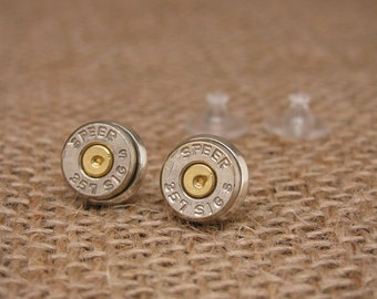 Bullet Jewelry - Speer Brand 357 Sig Silver Bullet Casing Stud Earrings - Small, Lightweight, and really pack a punch