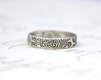 fleur de lis wedding band . thin recycled silver wedding band . scroll engraved band ring . rustic wedding band by peaces of indigo