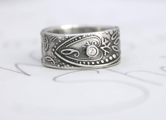 Wide Paisley Wedding Band With Sapphire Unique Engagement