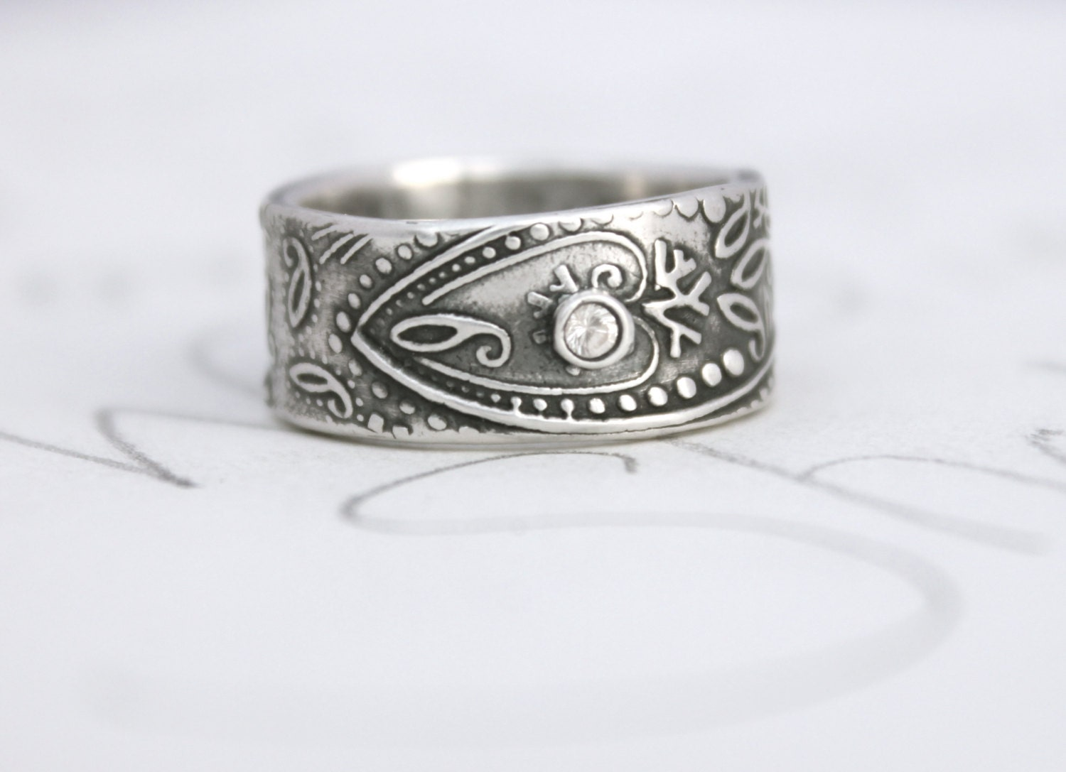 wide paisley wedding band with sapphire wide band wedding rings zoom