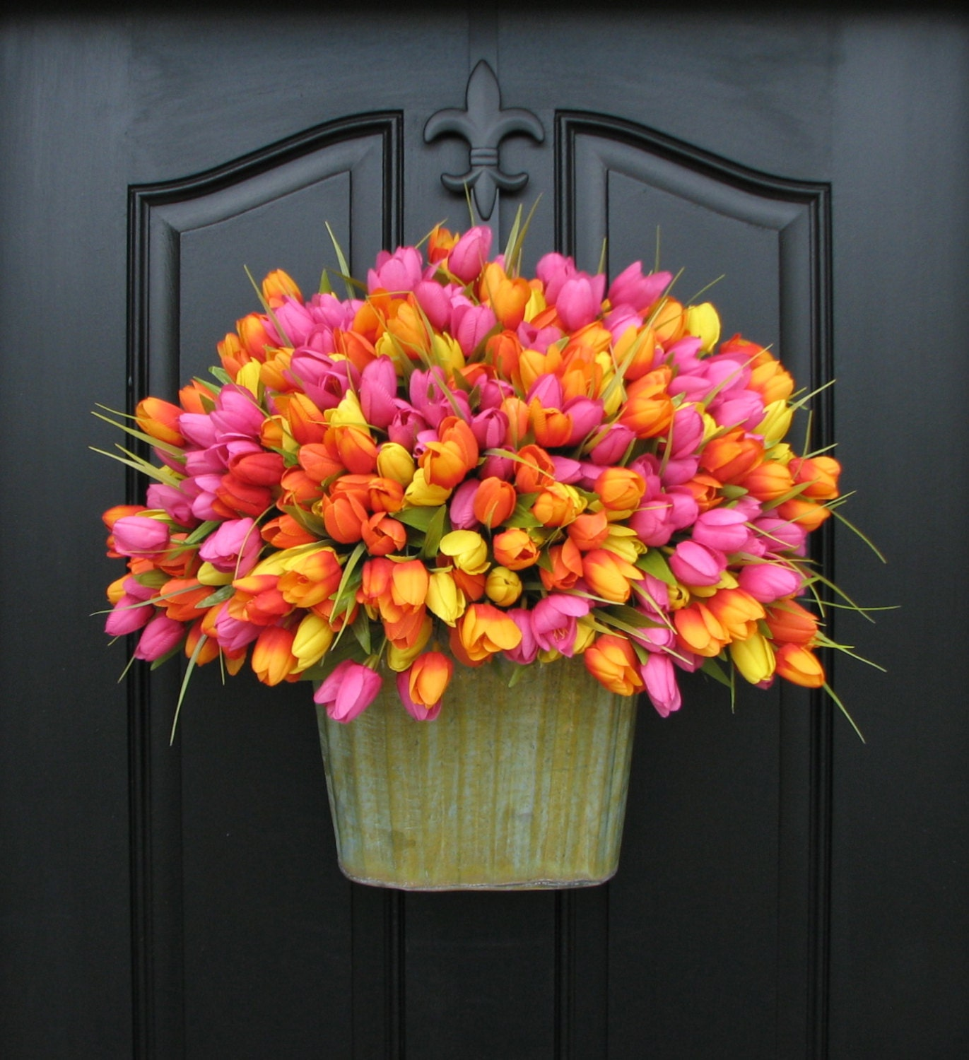 Country Front Door Decorations: Spring Tulips XL Front Door Decor Country Home Decor
