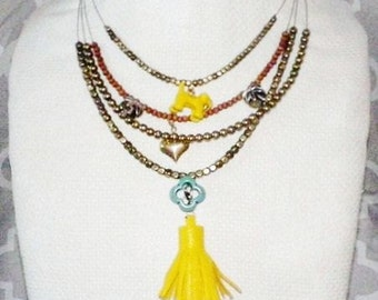 New SWEET LIFE Multi Layer Statement Necklace Yellow Enamel Dog Palm Tree Heart Turquoise Quatrefoil Charm and Tassel Beaded Tropical Custom