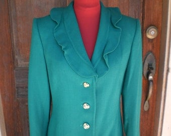 Cocktail Suit Herbert Grossman Designer Vintage 60s Emerald Green Wool Crepe Jacket Ruffled Collar Party Womens Lined Suit Straight Skirt