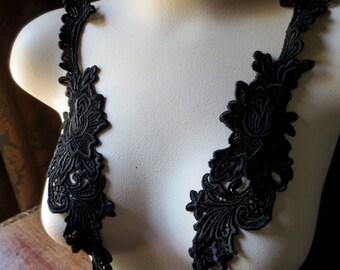 Lace Applique Pair in Black for Garments, Headbands, Costume Design, Home Decor PR 301