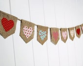 Shabby  Chic Heart Valentine's Day Banner in  Red, Pink, Aqua by sweetcarolinehome on Etsy