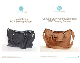 PDF Sewing Pattern Bundle - The Canvas Carry All AND The Satchel Bag