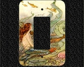 Rocker Light Switch Plate Cover- Vintage Mermaid with Fish Illustration